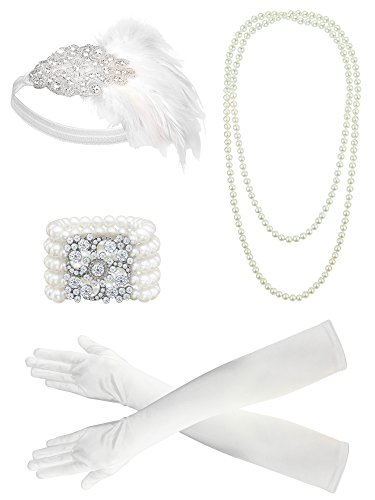 White 1920s Costumes (Zivyes 1920s Flapper accessories Feather Headband Pearl Necklace White Gloves Bracelet)