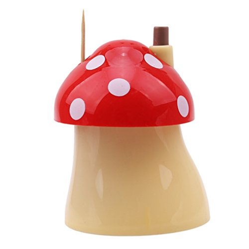 Edtoy Lovely Mushroom Automatic Toothpick Box, Portable Toothpick Holders, Home Restaurant kitchen Supplies (red)
