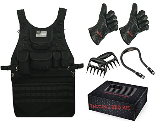 New Tactical BBQ Gift Set with Tactical BBQ Apron, Heat Resistant Gloves, Hands-Free BBQ Light and M...