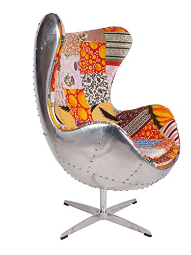 Hand-Hammered Aviator Aluminum Mid Century Modern Classic Arne Jacobsen Style Egg Replica Lounge Chair with Premium Vintage Kantha Fabric and Stainless Steel Frame