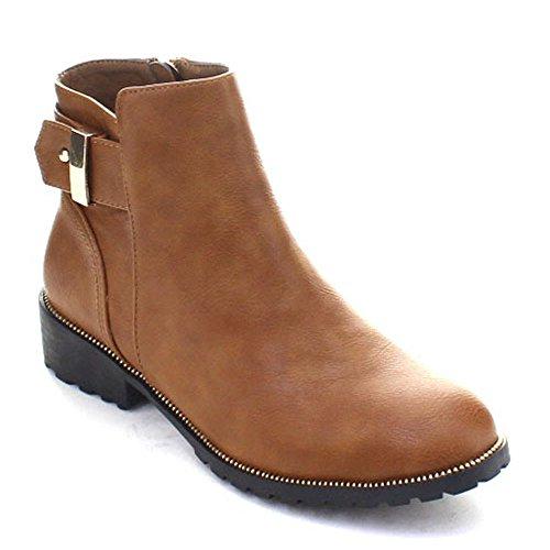 DbDk Kathie-1 Womens Buckle Strap Chunky Heel Side Zipper Ankle Booties Camel