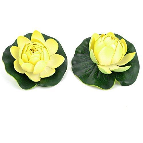 Amazon.com : eDealMax La decoración del acuario flotador de agua de la planta Flor de Loto 2 Pcs Verde claro Amarillo : Pet Supplies