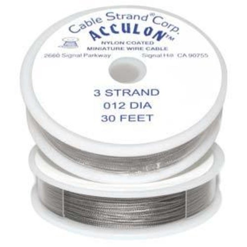Metal Thread - Acculon Tigertail Beading Wire Fine 3 Strand .012 30ft 42363