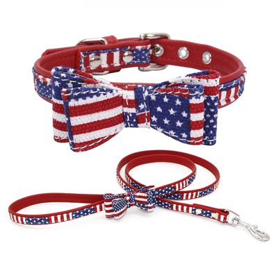 American Flag S American Flag S PETCARE Personalized Adjustable Dog Pulling Leash Collar with Double Ply Microfiber Fabric Bow Tie Dogs Patriotic Flag Collars Comfortable and Soft Pet Holiday Collars for Walking (S, American Flag)