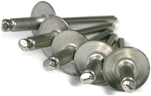 #4 0.376-0.500 Large Flange Blind Rivets 4-8LF QTY 250 Stainless Steel Pop Rivets 1//8 Diameter 1//8 x 1//2 Grip