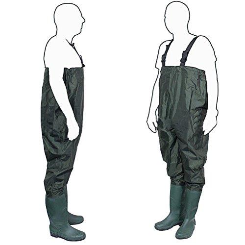 OULII Waders Pesca Pantalones Pescador pantalones de PVC/hule estanque Brule Río vadeador con suela de la...
