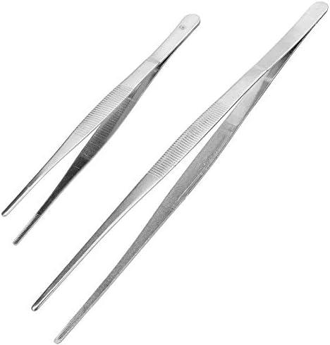 GUOJIAYI 2ホームガーデンキッチンバーベキューツール歯付きピンセットロングバーベキュー食品トングストレートピンセットステンレス鋼