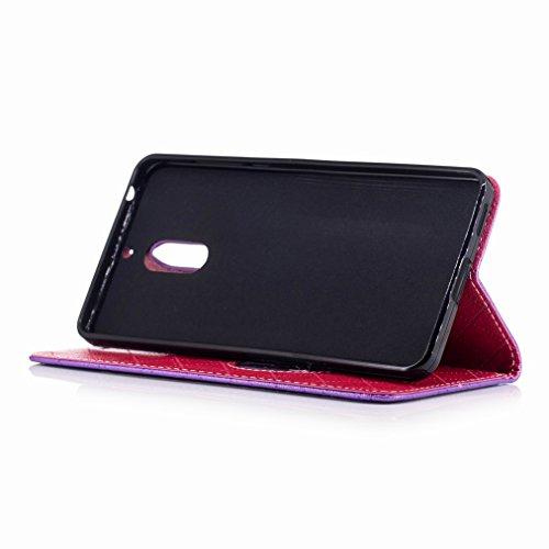 Yiizy Nokia 6 Custodia Cover, Amare Design Sottile Flip Portafoglio PU Pelle Cuoio Copertura Shell Case Slot Schede Cavalletto Stile Libro Bumper Protettivo Borsa (Viola)