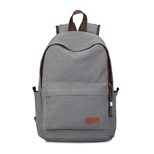 Zcjb Backpack Bag Men Fashion Leisure Men Canvas Backpack Travel Bag Computer Bag Man Bag College Students (color: Brown) Gray