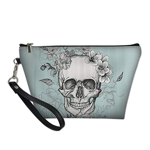 Mumeson Portable Zipper Cosmetic Bag Pu Leather Makeups Pouch Blue Skull Female Traveling Purse for Birthday Gift ()
