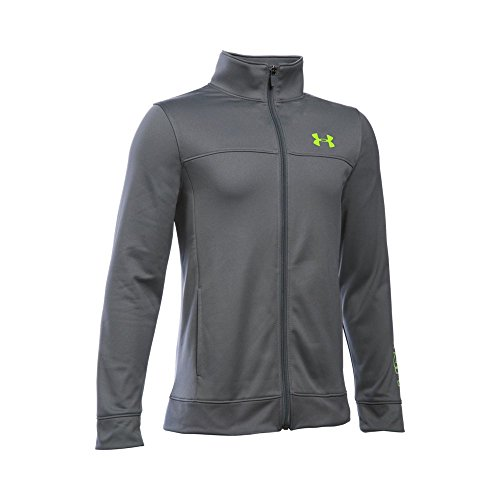 Under Armour Boys' Pennant Warm Up Jacket, Graphite/Fuel Green, Youth Large