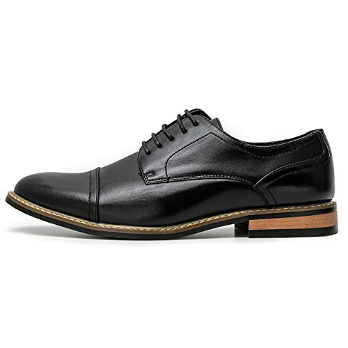 ZRIANG Men's Oxford Classic Cap Toe Dress Shoes Modern Lace up Leather Lined Formal Shoes for Men (12 M US, Black2)