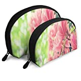 Makeup Bag Hawaiian Flowers Summer Portable Shell Toiletry Organizer For Girlfriend Holiday 2 Pack