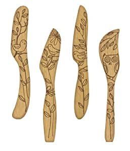 Talisman Designs Get Real Nature Beechwood Spreaders, Set of 4, Nature Design
