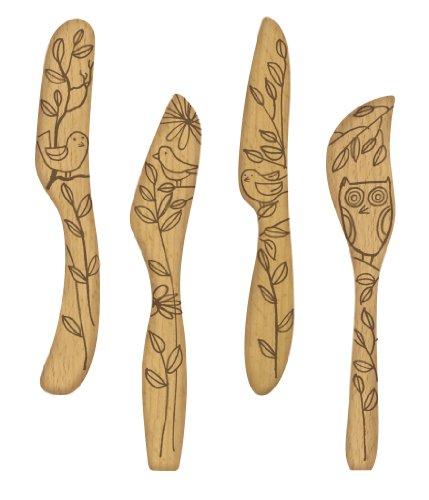 Talisman Designs Get Real Nature Beechwood Spreaders, Set of 4, Nature Design Brown Butter Spreader