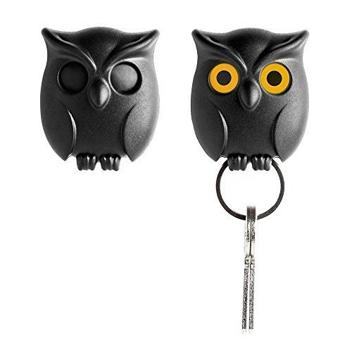 Night Owl Keyring Holder by Qualy Design Studio. Black Color. Cool Home Decor. Unusual Wall Decoration. Unique Gift.