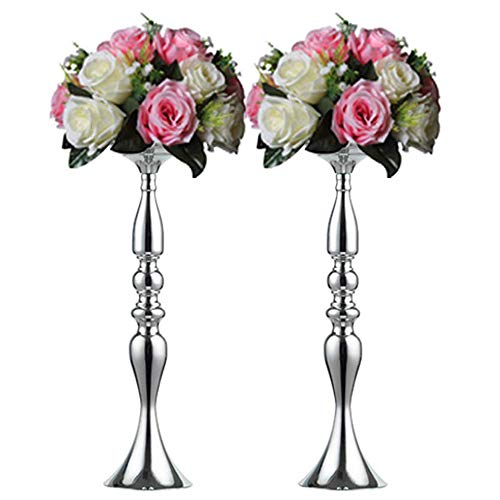 Pcs of 2 Tall Metal Vase for Wedding Centerpieces Decoration-Artificial Flower Arrangement-Pillar Candle Holder Stand Set for Wedding Party Dinner Event Centerpiece Home Decor (SILVER, 19.7