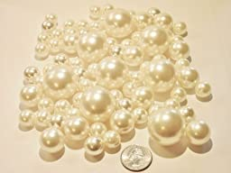 80 Jumbo & Assorted Sizes All IVORY/Cream Pearls - Value Pack Vase Fillers. NOT INCLUDING THE TRANSPARENT WATER GELS FOR FLOATING THE PEARLS (sold separately).