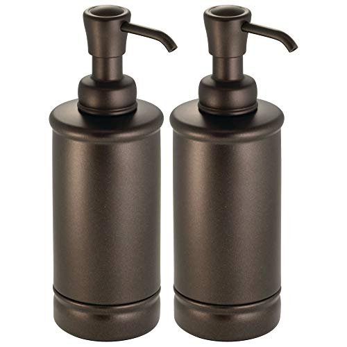 mDesign Round Metal Refillable Liquid Hand Soap Dispenser Pump Bottle for Kitchen Sink, Bathroom Vanity Counter Tops | Also Can be Used for Hand Sanitizer & Essential Oils - Tall, 2 Pack - Bronze