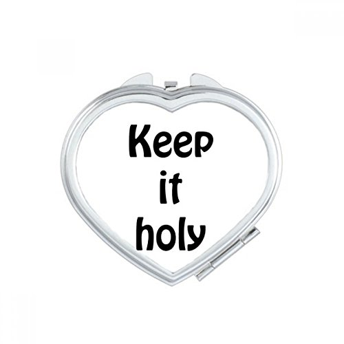 DIYthinker Keep It Holy Christian Quotes Heart Compact Makeup Mirror Portable Cute Hand Pocket Mirrors Gift by DIYthinker