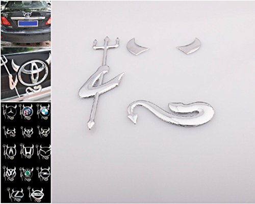 1 Set Tops Popular 3D Devil Car Sticker Rear Graphics Style Badge Emblem Fit All Logo Color - Silver Dragonfly Emblem