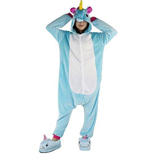 Pijamas de una pieza de Animales - BienBien Unicornio Pijama Kigurumi con Capucha para Adultos Ropa de Dormir disfraz de Carnaval y Halloween Cosplay Azul unicornio