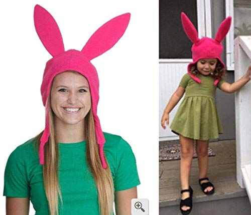 Mom Kids Cute Rabbit Ears Hat Bob's Burgers Louise Cosplay Costume Halloween Fleece Hat