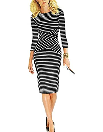 e52a62ac REPHYLLIS Women 3/4 Sleeve Striped Wear to Work Business Cocktail Pencil  Dress