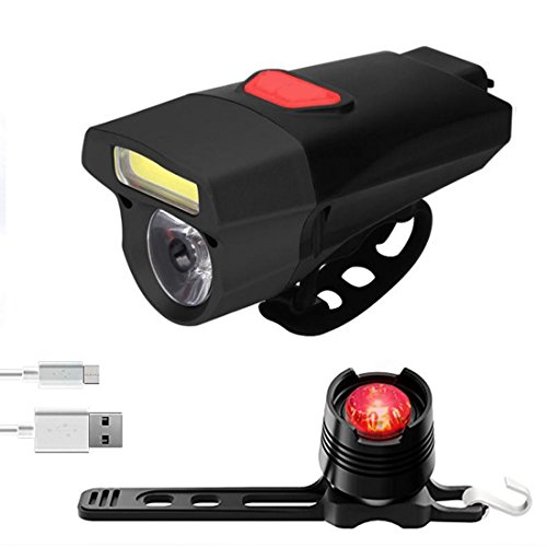 FETESNICE Super Bright Bike Light USB Rechargeable, Ultralight Waterproof Road/Mountain Bicycle Light, Double Lamp Front Bike Light and LED Bike Taillight (Black)