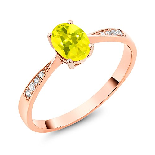 Gem Stone King 10K Rose Gold Diamond Ring with 0.86 Ct Oval Canary Mystic Topaz (Size 7)