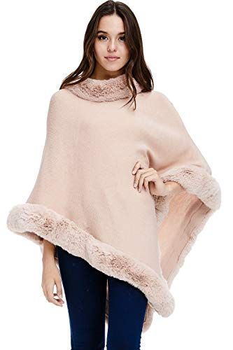 Womens Faux Fur Sweater Poncho – Cape Winter Luxe Trim Shawl (Pink, One Size)