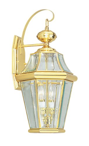 (Livex Lighting 2261-02 Outdoor Wall Lantern with Clear Beveled Glass Shades, Polished Brass)