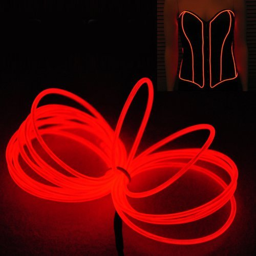 9ft 3m Red Neon Glowing Strobing Electroluminescent Wire (El Wire Red)