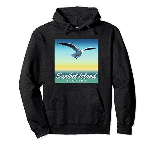 Sea Gull Sweatshirt (Unisex Sanibel Island Hoodie, Seagull Florida Beach Pullover 2XL Black)