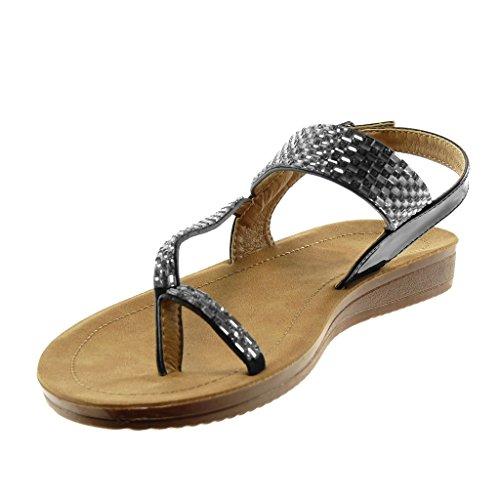 2 Angkorly Bar Cuña tobillo de Tanga Correa t Chanclas Negro mujer Zapatos de de imitación Patente cm moda de para Sandalias Diamante HT7Xv