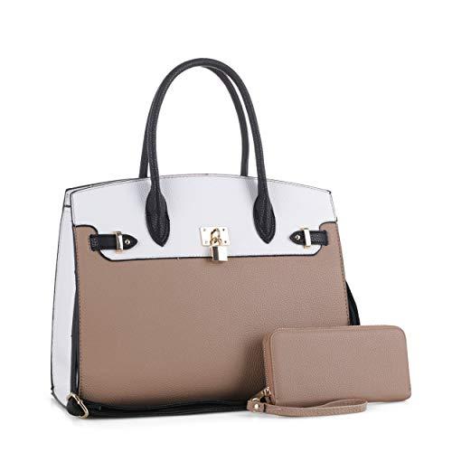 DELUXITY Women's Designer Top Handle Satchel Handbag Tote Bag Briefcase 2pc set (Nude/White)