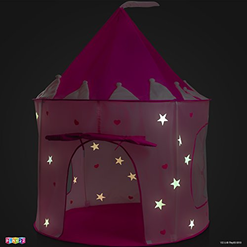 Play22 Play Tent Princess Castle Pink - Kids Tent Features Glow in The Dark Stars - Portable Kids Play Tent - Kids Pop Up Tent Foldable Into A Carrying Bag - Indoor and Outdoor Use - Original by Play22 (Image #1)