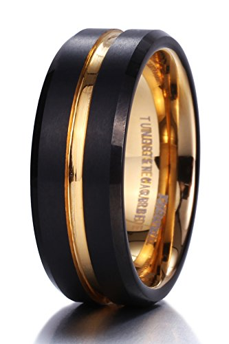 King Will DUO Mens 8mm Black Matte Finish Tungsten Carbide Ring 18K Gold Plated Beveled Edge Wedding Band(11)