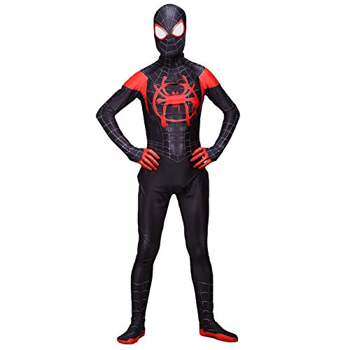 Da Mai Kids Spider Spandex Zentai Halloween Cosplay Suit Kids Costume Superhero Bodysuit Black ()