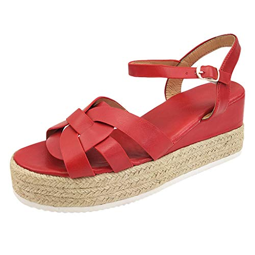 LONGDAY ⭐ Shoes Women's Ankle Strap Flat Espadrilles Summer Platforms Sandals - Criss Cross Casual Shoes Open Toe Red
