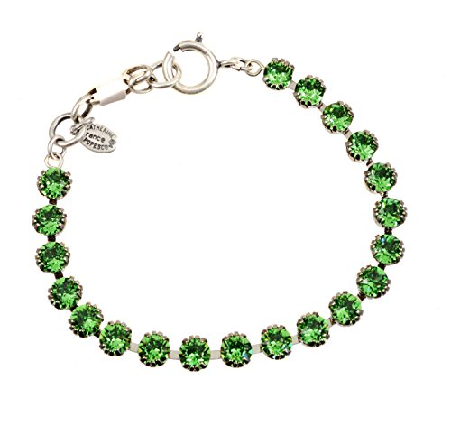 Catherine Popesco Silver Plated Tennis Bracelet with Marine Swarovski Crystals, 7.5
