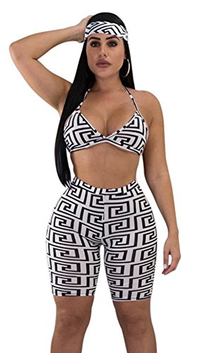 WearFun Women's Sexy Strappy Plunge V-Neck Crop Top and Bodycon Short Pants 2 Piece Outfits Jumpsuit