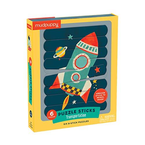 Mudpuppy Transportation Puzzle Sticks - Great for Kids Ages 3-6 - Six Transportation Themed 8-Piece Stick Puzzles - Arrange Sticks to Reveal Image - Work on Sorting, Problem-Solving - Unique Puzzle