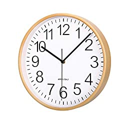 KAMEISHI 11 Inch Silent Wall Clock Wood, Non-Ticking, Battery Operated, Quartz Easy to Read Large Numbers Round Decorative Analog Wall Clocks for Living Room Bedroom Kitchen Home KSW1871 White Color