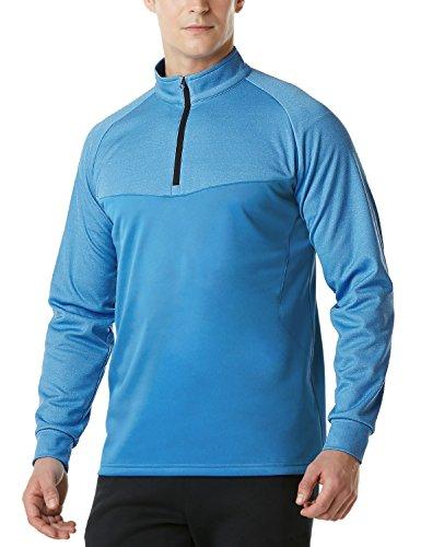 Tesla TM-YKZ03-BLU_Large Mens Winterwear Sporty Slim Fit 1/4 Zip Fleece Lining Sweatshirt YKZ03