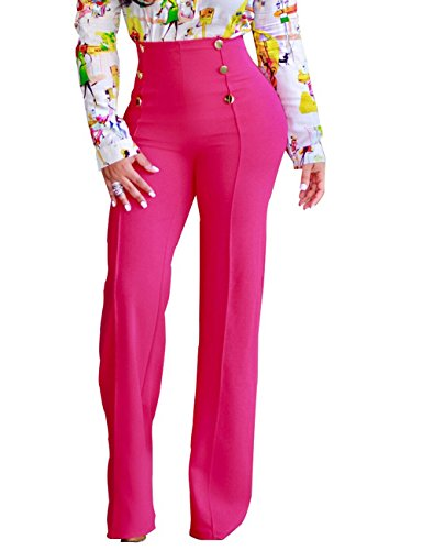 GUOLEZEEV Women Fit Flare Pant Solid High Rise Wide Leg Long Elegant Pants Rose Red XL
