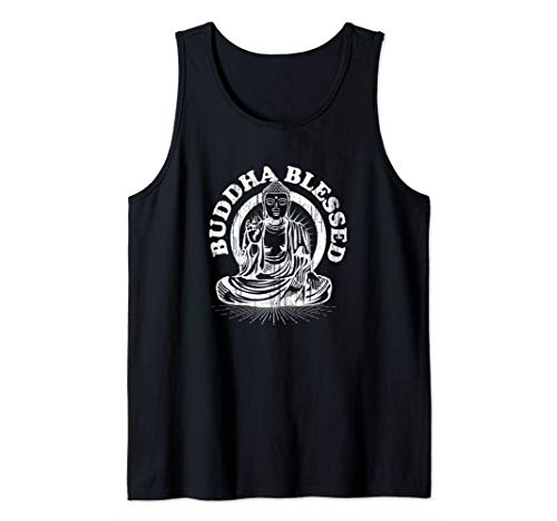 - Buddha Blessed Choose Peace Meditating Yoga Distressed Gift  Tank Top
