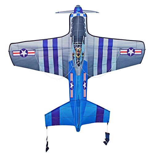 AmaZing Kites 3D Nylon P-51 Mustang World War II Fighter Plane Kite with 55
