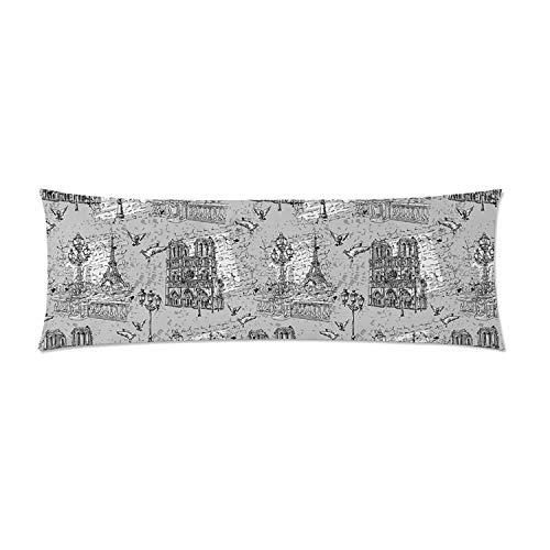 C COABALLA Paris Comfortable Rectangular Pillowcase,Vintage Monochrome Image
