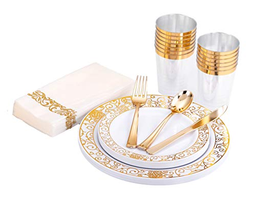 HomyBasic Disposable Dinnerware & Silverware Set for 25 - Elegant Dinner & Dessert Plastic Plates, Cups & Paper Napkins. 30 Sets for Forks, Spoons, Knives for Wedding Parties, Birthday Party (Gold) (Decorations Plate Thanksgiving)